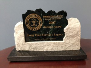 2007 Recipient of the Sherwood Park & District Chamber of Commerce Long-Time Service Award